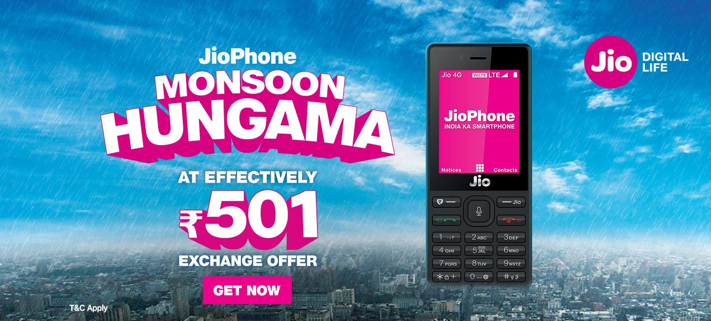9495da30c Jio Phone Monsoon Hungama Offer – Best 4G VoLTE Feature Phone for ₹501